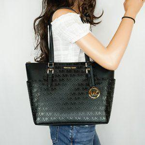 Michael Kors Charlotte Tote Shoulder Bag MK Black